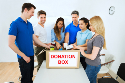 group of people giving donation